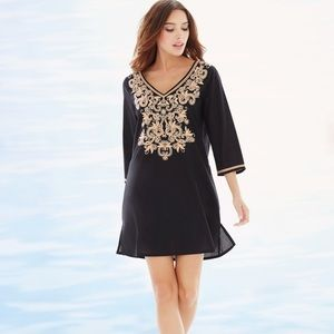 33d7b6dbd636c Soma Embroidered Cotton Tunic Swim Cover Up Black